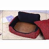 AYHa Perro de mascota desmontable cama caliente cama del perro de la habitación Grandes cama del perro caliente del invierno de la perrera cómodo sofá del animal doméstico,negro rojo