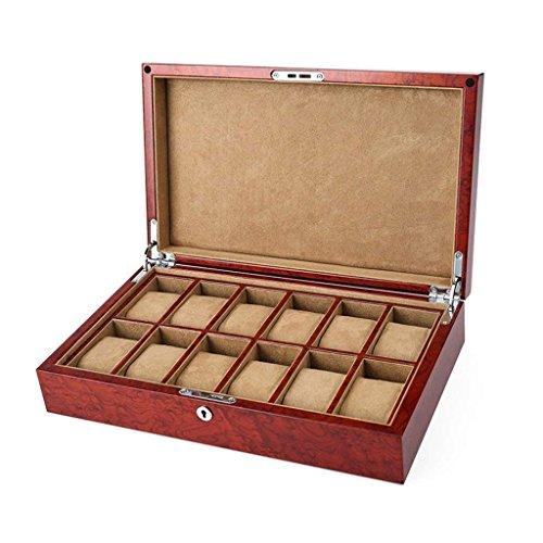 TGDY Schmuck Armband Show Case, Hölzerne Uhr Box, Aufbewahrungsbox Fall, Hölzerne Vintage HD Glas Mit Verriegelung 12 Schlitz (36 * 22 * 8,5 cm)