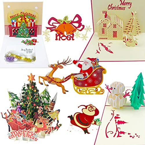 7 Pack 3D Pop Up Christmas Cards Greeting Handmade Holiday Xmas Cards & Envelopes for Xmas/New Year
