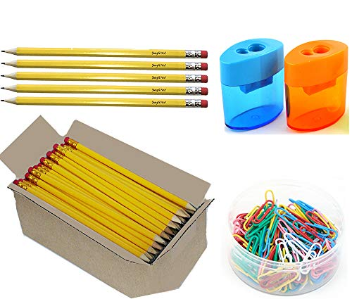 125 Pre-Sharpened Graphite Pencils, wood-cased #2 HB with Erasers Bonus 2 Sharpeners and 100 Paper Clips, Yellow, 125-Pack FSC Approved|For School Kids Bulk Office classroom supplies gifts exams