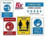 Super Pack 5 Señales Coronavirus | Señal de Dispensador + Distancia + Mascarilla + Aforo + Higiene Manos | Carteles para Empresas, Comercios, Oficinas | 21 x 30 cm | Descuentos por Cantidad