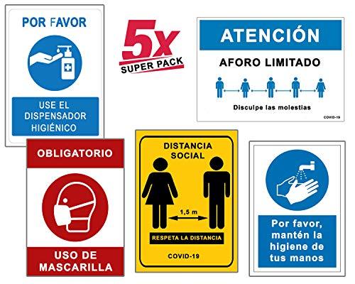 Super Pack 5 Segnali Coronavirus | Segnale Distanziale + Maschera + Aforo + Igiene Mani | Cartelli per aziende, Commerci, Uffici, 21 x 30 cm | Sconti quantitativi