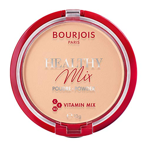 Bourjois Polvo compacto Healthy Mix Zero Signos de cansancio, fórmula matificante y uniforme con vitaminas A, E y B5, 002 Light Beige, 11 g
