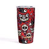Jormungand Tumbler 20oz Stainless Steel Vacuum Insulated Travel Mug with Straw Friendly Lid Double Wall Coffee Cup (sugar skull02, 20oz)