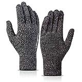 TRENDOUX Guantes para hombre y mujer, para pantalla táctil de 360°, guantes térmicos de invierno, agarre antideslizante, forro de lana, puños elásticos, guantes de punto finos, color negro, blanco, XL