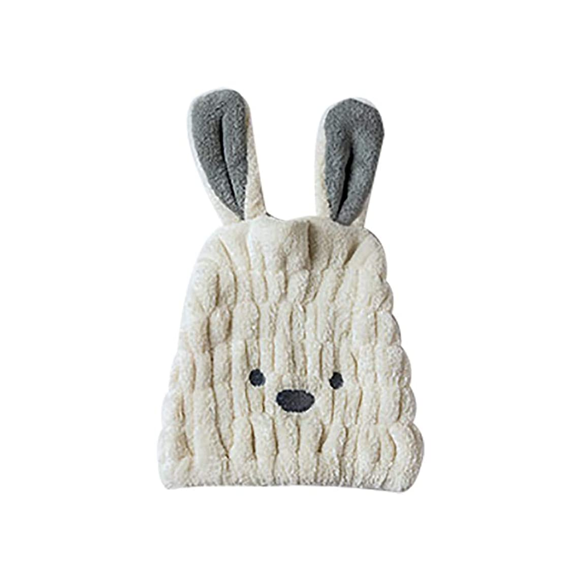 完全に歌うプーノボコダダ(Vocodada)タオルキャップ ヘアキャップ 吸水 ヘアドライタオル 速乾 ヘア 乾燥 タオル 帽子 キャップ 風呂 ふわふわ 可愛い ウサギ 長い耳 コーラルフリース 25x30cm (ベージュ)