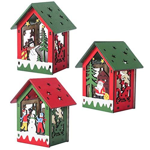 TOYANDONA 3 piezas LED casa de Navidad con iluminación de Navidad colgante de madera decoración de mesa árbol de Navidad colgante muñeco de nieve Papá Noel figura de casa de madera iluminada