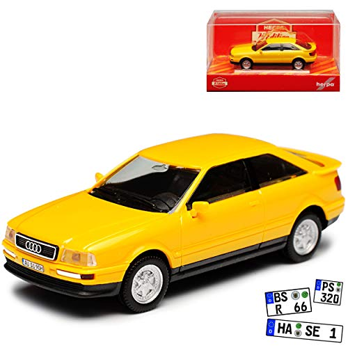A-U-D-I 80 B3 Coupe Gelb 1986-1991 H0 1/87 Herpa Modell Auto