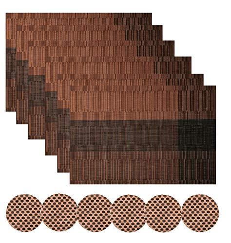 Famibay PVC Platzsets und Untersetzer 6er Set Hitzebeständig Dauerhaft Braun Tischsets für Küche Esstisch