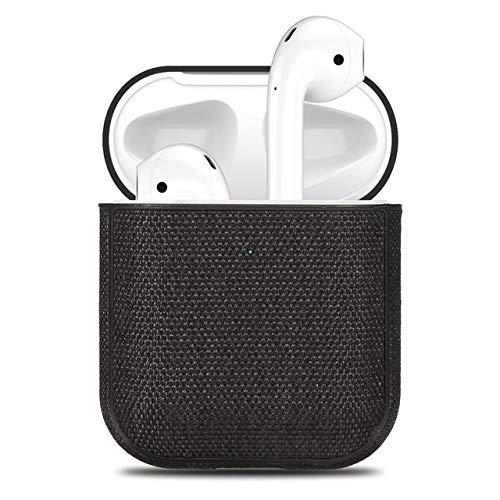 Stoff Leinwand Tuch-Kasten for Airpods Ultra Thin 360 Vollschutz Bluetooth Kopfhörer-Kasten for Airpods 2 Zubehör Abdeckung Capa (Farbe : Schwarz)