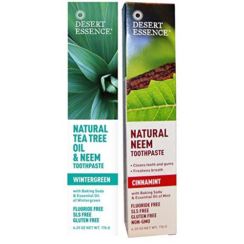 Desert Essence Toothpaste Natural Tea Tree Oil & Neem Toothpaste - 1 Wintergreen & 1 Cinnamint - Baking Soda & Essential Oil - Cleans Teeth & Gums - Refreshing Rich Taste - Tea Tree Oil