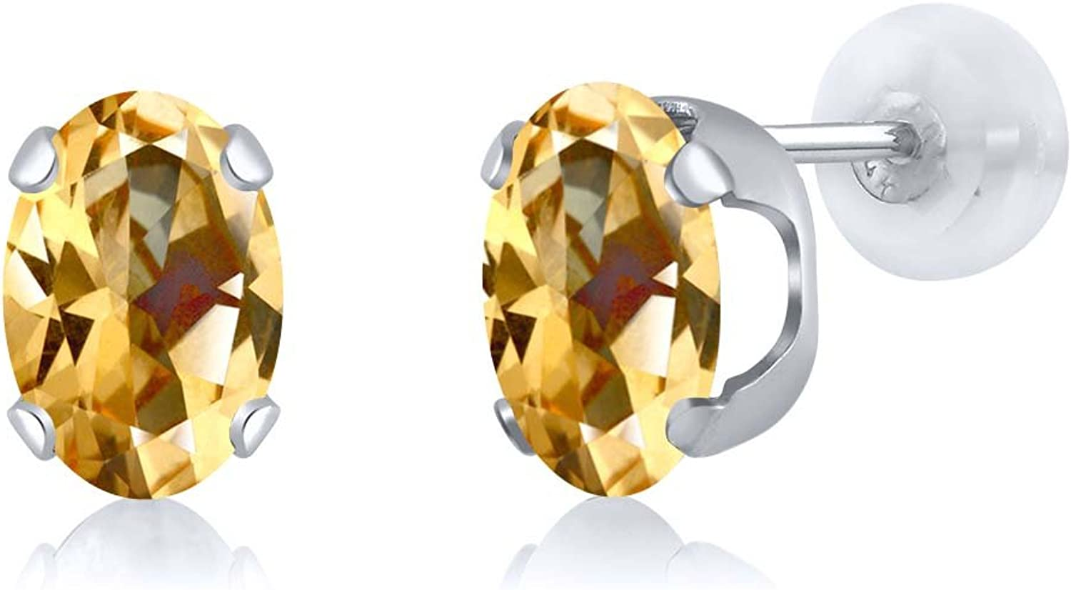 2.64 Ct Honey 14K White gold Earrings Natural Topaz Cut by Swarovski