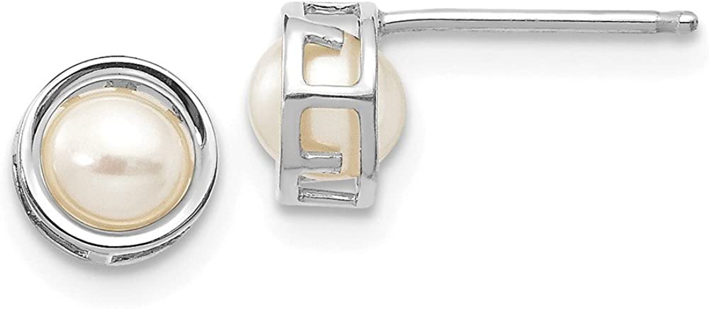 Solid 14k White Gold 5mm Bezel Freshwater Cultured Pearl Stud Earrings 5mm