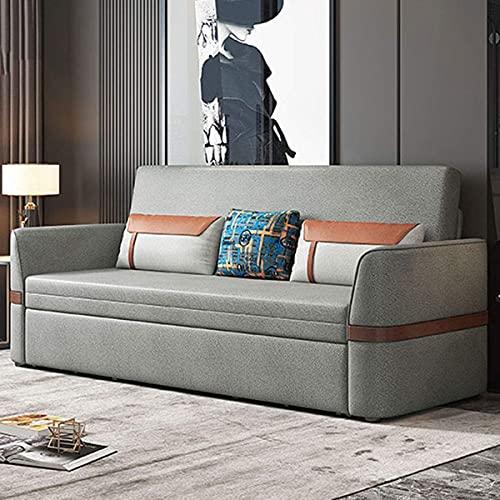 N/Z Home Equipment Sofa Cabrio Bett Faltbares Wohnzimmer Futon Multifunktionale Doppelsofamöbel Bequemes Kissen mit praktischer Aufbewahrungsbox Funktion Starke Tragfähigkeit dunkelgrau 2.1M