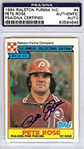 Pete Rose Signed 1984 Ralston Purina Hand Cut Card #4 - PSA/DNA Authentication - Autographed MLB Baseball Cards