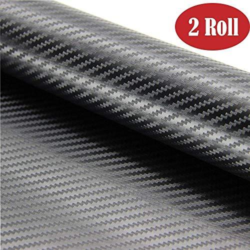 BangShou Autofolie 2 Rolle Carbon Folie 3M Aufkleber Vinyl Wrap 3D DIY Auto Folie mit Luftkanäle Verdickt Dekorative Schwarz (152 * 30cm)