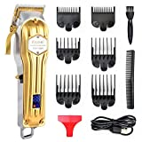Hair Clippers for Men Professional Rechargeable Cordless Hair Trimmer Cutting Kit with Carbon Steel Blade 6 Grooming Combs 2500mAh Lithium Ion LED Display Haircut Kit