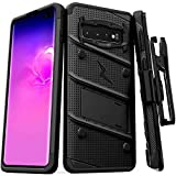 Zizo Bolt Cover - Case for Samsung Galaxy S10 with Military Grade + Glass Screen Protector & Kickstand and Holster (Black/Black)