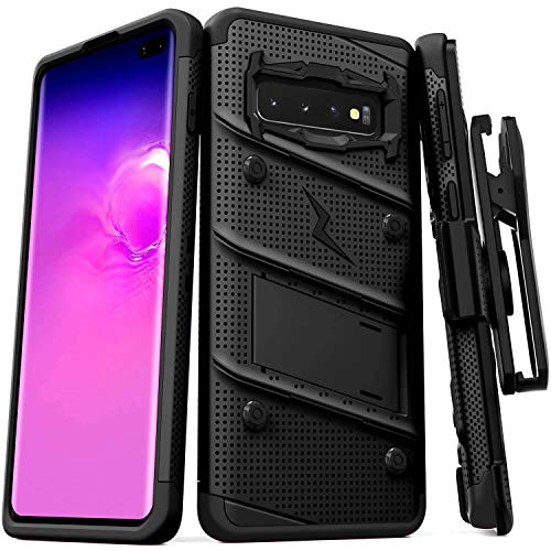 Zizo Bolt Cover - Case for Samsung Galaxy S10+ with Military Grade + Glass Screen Protector und Kickstand and Holster (Black
