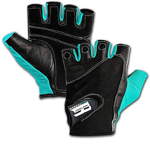 RIMSports Workout Gloves Men Women Half Finger Weight Lifting Gloves with Anti Slip Design for Gym Exercise Fitness Training Lifts Made of Leather and Lycra Spandex Fiber, Turquoise M