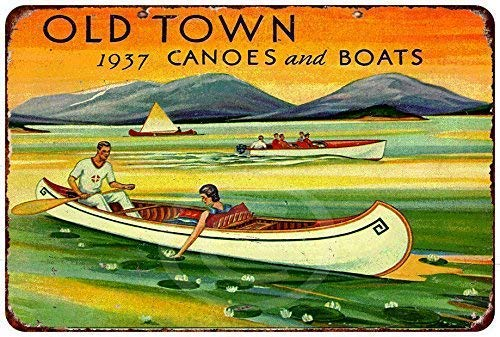 Jesiceny New Tin Sign 1937 Old Town Canoes and Boats Vintage Reproductions 8x12 Inch