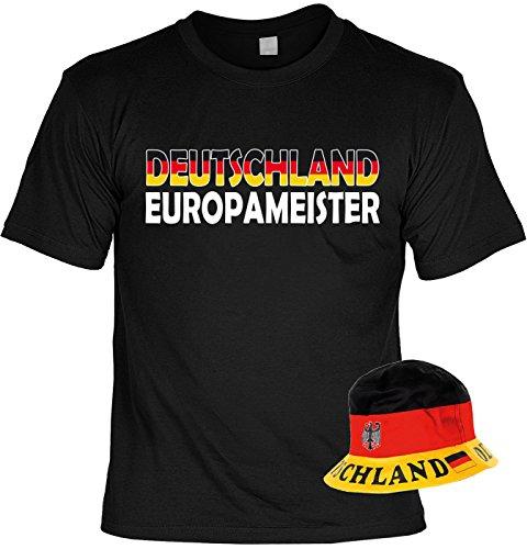 Veri 2-teiliges Fussball WM 2018 Deutschland T-Shirt Trikot Fanartikel Set Fahne Europameister und Fischerhut Fußball Fan Hut Sonnenhut Gr. 52-59 cm Gr. XL : -