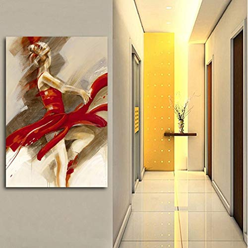 wopiaol Cartel Moderno Pintura Abstracta Bailarina de Ballet impresión Lienzo Pintura Pared Arte Cuadros para Sala de Estar decoración del hogar60x90cm(Sin Marco)