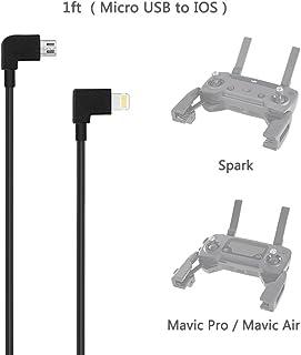 AxPower Lightning OTG ケーブル リモコン 送信機データケーブル Micro USB コネクター ケーブル lightning データ転送 DJI Mavic Pro/Mavic Air/Spark ドローン 用 ビデオ送信データ転送ケーブル for iPhone 7 8 X iPad Mini Air Pro [30cm]
