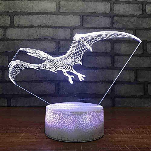 Home Decoration 3D LED-Beleuchtungslampe Pterodactyl Tischlampe 7 Farben Dinosaurierform Touch Nachtbett Nachtlicht