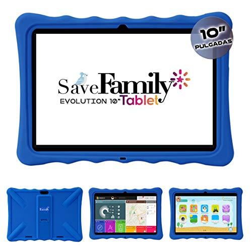 """Tablet Evolution SaveFamily 10"""" para niños & Adolescentes. WiFi Y Datos SIM. Doble Control Parental, Control de Contenido, Anti-Bullying, Juegos. Funda Silicona. Marca española. (Azul)"""