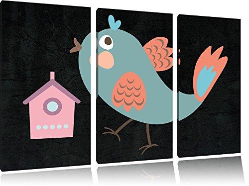 Leuke vogels met nestkastjesFoto Canvas 3 deel | Maat: 120x80 cm | Wanddecoraties | Kunstdruk | Volledig gemonteerd