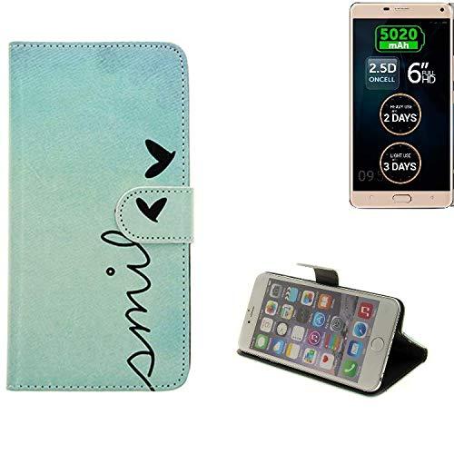 K-S-Trade® Schutzhülle Für Allview P8 Energy Pro Hülle Wallet Case Flip Cover Tasche Bookstyle Etui Handyhülle ''Smile'' Türkis Standfunktion Kameraschutz (1Stk)