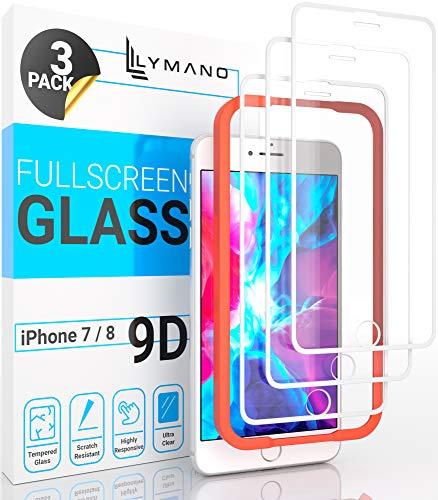[3 Stück] LYMANO Panzer-Folie Glas Full Screen für iPhone 7 iPhone 8 Display-Schutzfolie Schutzglas Glass Protector [Anti Kratzer] [Blasenfrei] [Komplett Abdeckung] (4,7 Zoll) Weiß