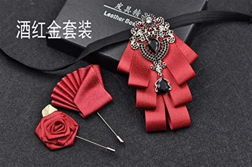 XIARUI Corbata de lujo negro con diamantes de imitación hechos a mano para hombre, boda, mejor hombre, traje de alta gama, traje de moño para hombre, color rojo vino