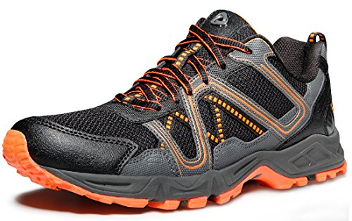 TSLA Men's Trail Running Shoe, Lightweight Breathable Outdoor Walking Sneakers, Athletic Gym Training Hiking Shoes, Trail(t320) - Orange & Grey, 10.5
