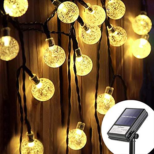 Koopower 4.5M 30er LED Solar und Batterie Lichterkette, 8 Modi IP65 Wasserdicht Kugel Lichterketten, TIMER Dimmbar Lichterkette, für Innen und Außen dekoration, Hochzeiten-Warmweiß