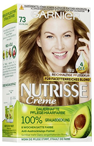 Garnier Nutrisse Creme Coloration Goldblond 73, Färbung für Haare für permanente Haarfarbe (mit 3 nährenden Ölen) - 1 Stück