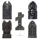 PRETYZOOM 5PCS Halloween Foam RIP Graveyard Tombstones Halloween Yard Decorations Lawn Headstones Spooky Haunted House Decorations with 10pcs Ground Stakes
