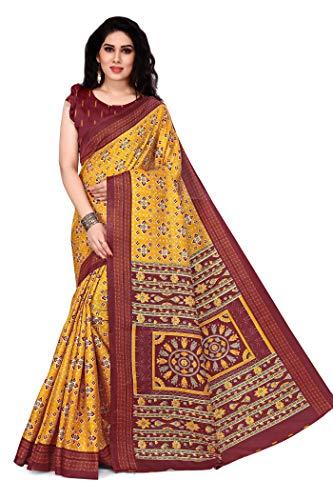 Mirchi Fashion Damen Designer Bedruckter Sari mit Blusenteil Gr. One size, Senf,...