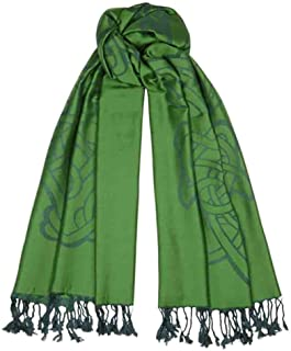 Emerald Green Long Celtic Design Jacquard Scarf