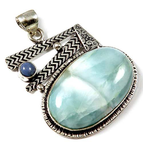 Goyal Crafts GPAK29 - Colgante de aventurina azul bañado en plata con gema natural