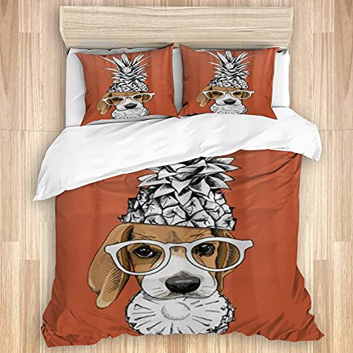 ATZTD Juego de ropa de cama - Funda de edredón, gafas de corona de piña Beagle, microfibra, 200 x 200 con 2 fundas de almohada de 80 x 50, doble