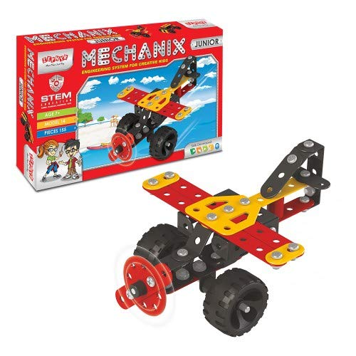 Mechanix Junior Series, 155 Pieces in The Game, Can Make 14 Different Models, Made in India Game, for 7+ Years of Kids