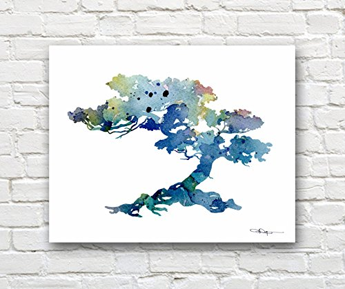 Bonsai Tree Abstract Watercolor Art Print by Artist DJ Rogers