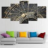 YOPLLL 5 Piezas Lienzo Grandes XXL Murales Pared Hogar Pasillo Decor Arte Pared Abstracto HD Impresión Foto Reloj Retro Obra Clásica 150X 80 Cm(Enmarcado)