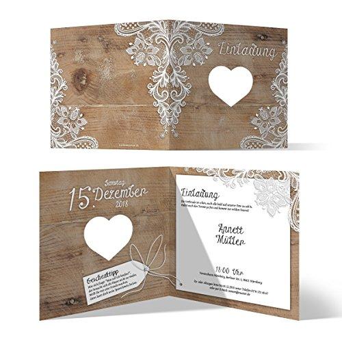 30 x Lasergeschnittene Geburtstag Einladungskarten Geburtstagseinladung - Rustikal mit weißer Spitze