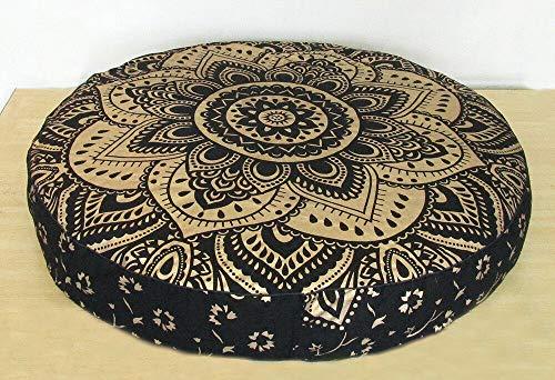 GDONLINE Funda de Almohada de algodón con Mandala India, Decorativa, Hecha a Mano, Funda de Almohada Bohemia otomana para Yoga, Funda de cojín, tapete de Yoga, decoración para el hogar, Cama otomana