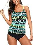 Dokotoo Womens Striped Bandeau Print Color Block Summer Y Back Sporty Blouson Slimming Tankini Swim Top No Bottom Swimsuit Bathing Suit Swimwear Large