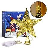 Joyjoz Estrella de Árbol de Navidad, Decoración de Árbol de Metal Dorado con Brillo con 15 Luces LED, Adorno de Árbol de Navidad, Decoración de Fiesta