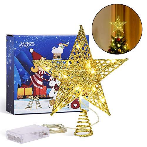 Joyjoz Weihnachtsbaumspitze Stern - Gold mit Glitzer Tree Topper mit 15 LED-Lichtern, Weihnachtsbaumspitzen für Christbaumschmuck, Weihnachtsbaumschmuck, Partydekoration